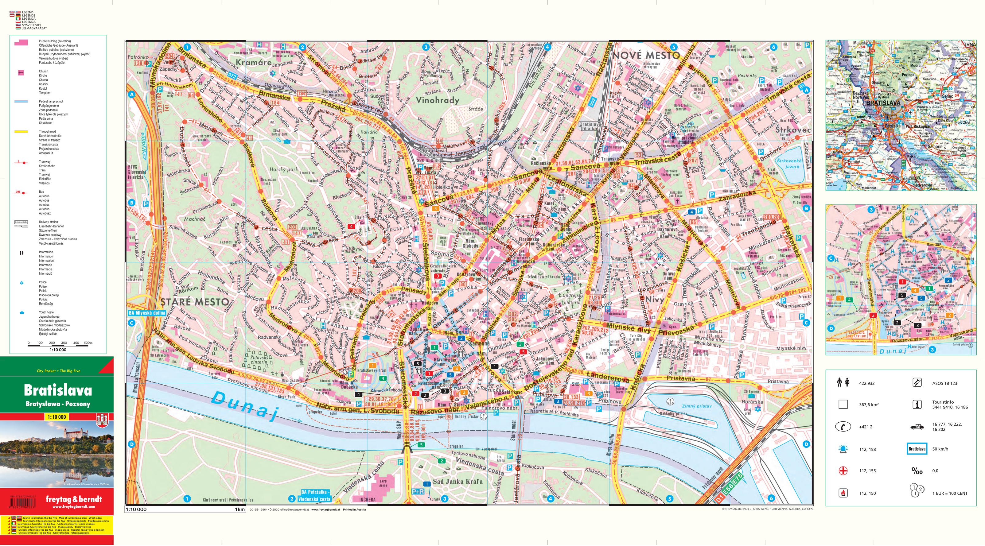 bratislava mapa NÁSTENNÉ MAPY | Bratislava širšie centrum 44,5x81cm, 1:10t lamino  bratislava mapa