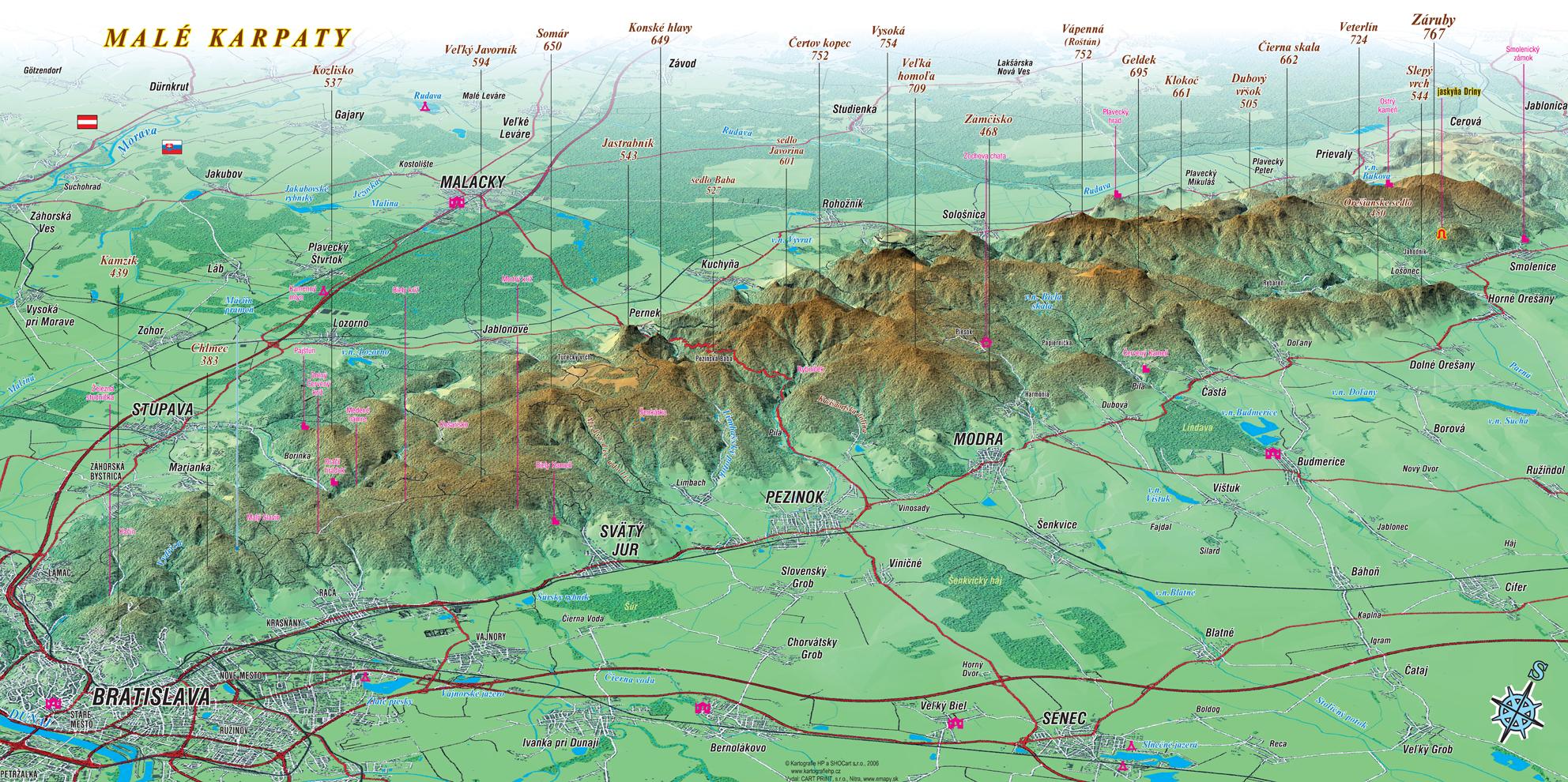 Nastenne Mapy Male Karpaty 52x100cm Panoramaticka Lamino Listy