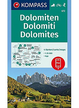 Turistika Kompass 672 Dolomiten Sada 4 Mapy 1 35t Turisticka