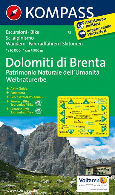 Turistika Kompass 73 Dolomity Di Brenta 1 50t Turisticka Mapa