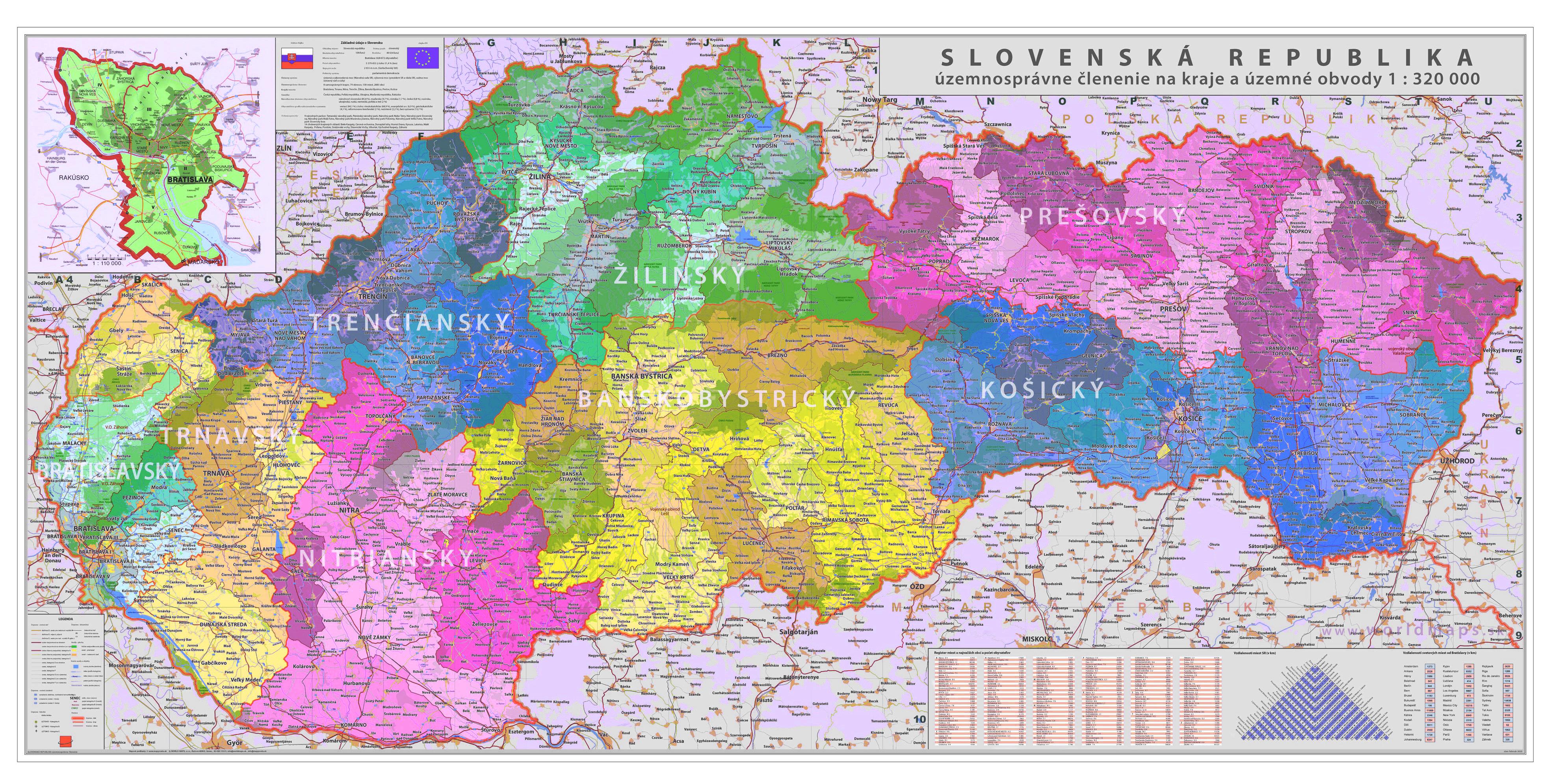 Nastenne Mapy Slovensko Kraje A Obvody 70x140cm Mapa Na Platne