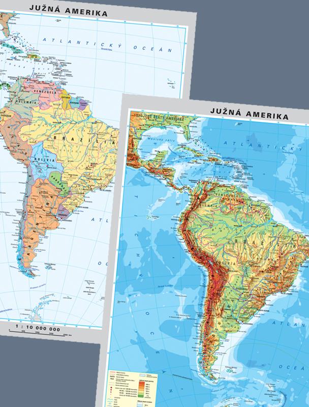 Nastenne Mapy Amerika Juh Duo Politicka Fyzicka 100x130cm Lamino
