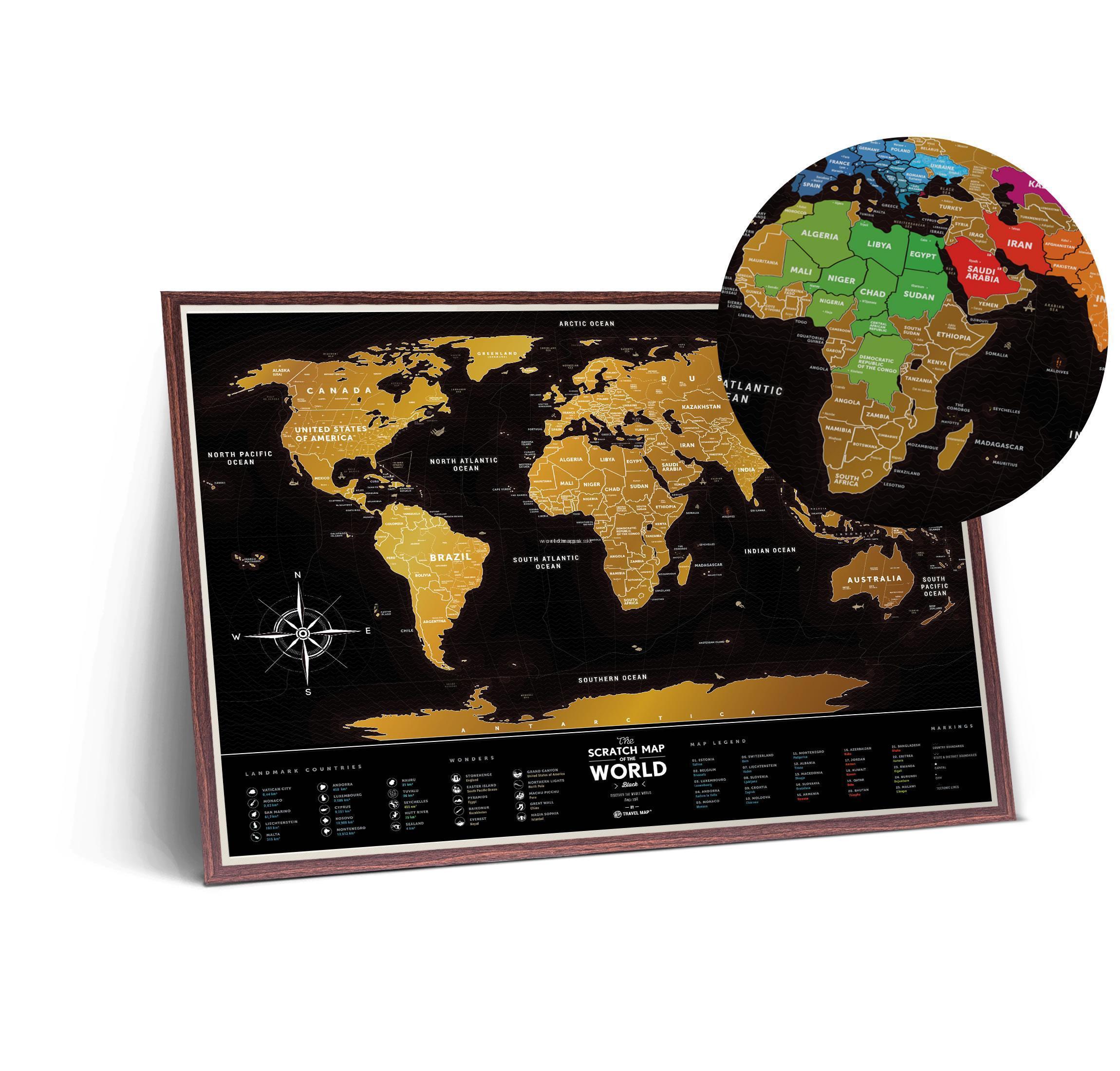 digitalna mapa sveta NÁSTENNÉ MAPY | Black World stieracia mapa sveta + tubus + darček  digitalna mapa sveta