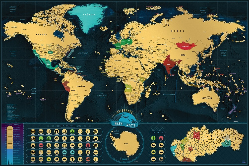 Nastenne Mapy Svet Deluxe V Slovencine Dark Blue Stieracia Mapa
