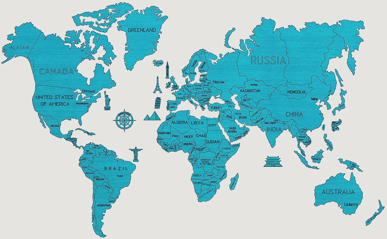 Nastenne Mapy World Wood Map Xl Cyan 80x120cm Svet Drevena Mapa