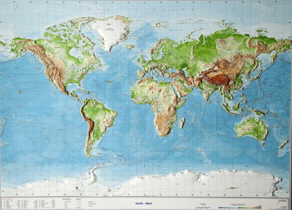 mapa sveta 3d NÁSTENNÉ MAPY | Svet reliéfny 3D mapa 77x57cm | .worldmaps.sk mapa sveta 3d
