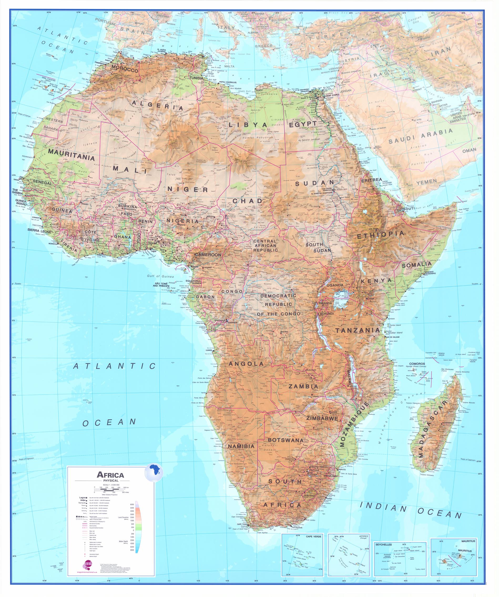 Nastenne Mapy Afrika Geograficka 120x100cm Lamino Listy Www
