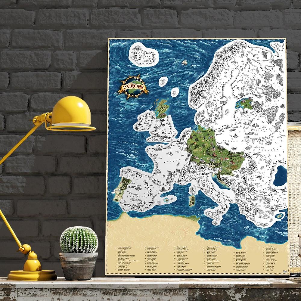 c01a8f3f5034 Europe Silver stieracia mapa európy + tubus 66x90cm empty