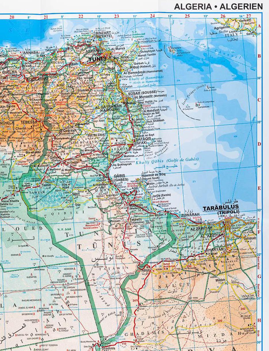Afrika Alzirsko Maroko Tunisko 1 2 5mil Geograficka Skladana