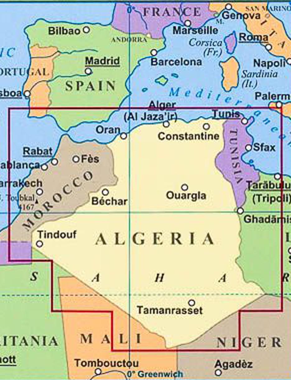 Afrika Alzirsko Maroko Tunisko 1 2 5mil Cestna Skladana Mapa