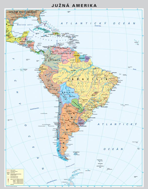 juzna amerika mapa NÁSTENNÉ MAPY | Amerika juh DUO politická/fyzická 100x130cm lamino  juzna amerika mapa