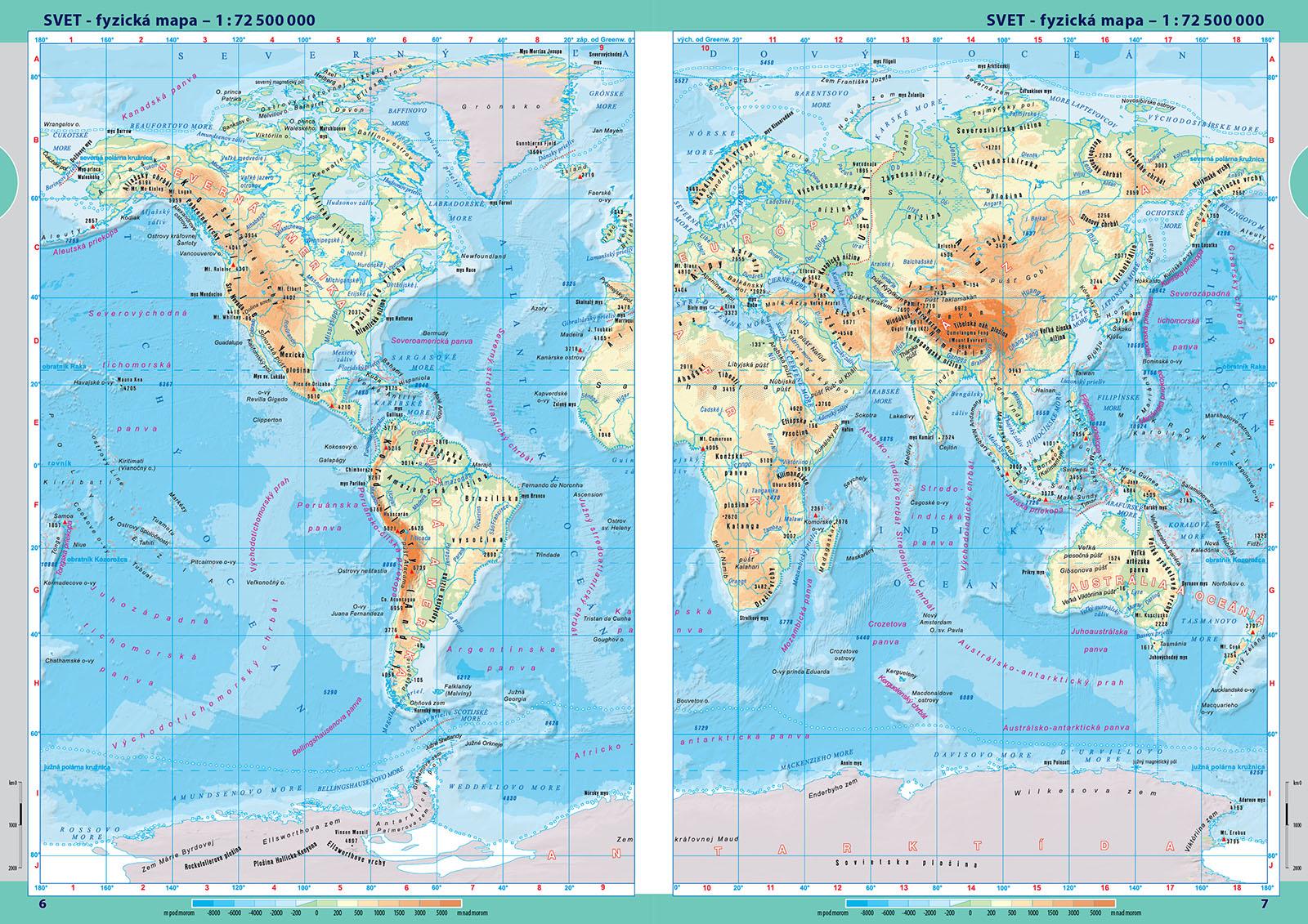 atlas sveta mapa Školský atlas Sveta v slovenčine atlas sveta mapa