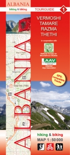 Albania Hiking and Biking Map 1:50t (1) Vermoshi – Tamare – Razma – Thethi