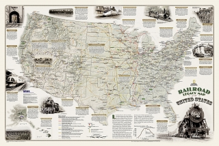 Railroad Legacy Map of the United States 61x91cm lamino s lištami