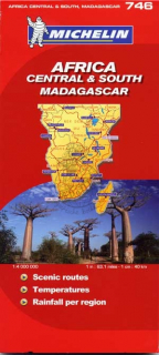 746 Afrika stred, juh, Madagaskar (Africa) 1:4mil national mapa MICHELIN