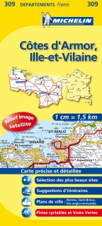 309 Côtes d'Armor, Ille-et-Vilaine 2016 (Francúzsko) 1:150tis local map MICHELIN