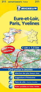 311 Eure-et-Loir, Paris, Yvelines 2016 (Francúzsko) 1:150tis local mapa MICHELIN