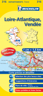 316 Loire-Atlantique, Vendée 2016 (Francúzsko) 1:150tis local mapa MICHELIN