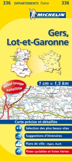 336 Gers, Lot-et-Garonne 2016 (Francúzsko) 1:150tis local mapa MICHELIN
