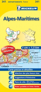 341 Alpes-Maritimes 2016 (Francúzsko) 1:150tis local mapa MICHELIN
