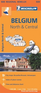 533 Belgium North, Central (Holandsko Sever) 1:200tis regional map MICHELIN