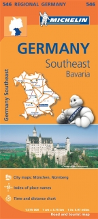 546 Germany Southeast, Bavaria (Nemecko Bavorsko) 1:375tis regional map MICHELIN