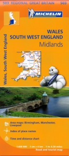 503 Wales,The Midlands,SouthWest England (Británia) 400t regional mapa MICHELIN