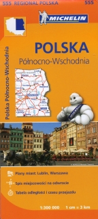 555 Poland North East (Poľsko) 1:300tis regional mapa MICHELIN