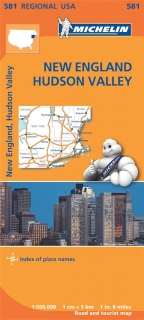 581 New England, Hudson Valley (USA) 1:500tis regional mapa MICHELIN