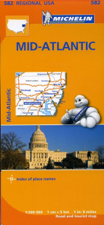 582 Midatlantic, Allegheny Highlands (USA) 1:500tis regional mapa MICHELIN