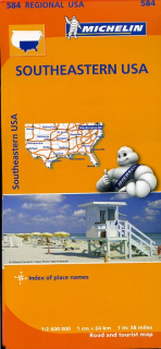 584 USA South-East (USA Juh-Východ) 1:2,4mil regional mapa MICHELIN