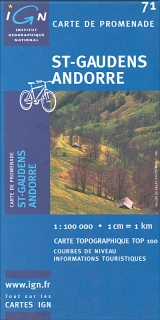 St-Gaudens Andorre 1:100t turist mapa TOP100 IGN.71
