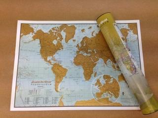 ee0ce9418 World Gold Travel detailná stieracia mapa 30x42cm + tubus / anglicky empty
