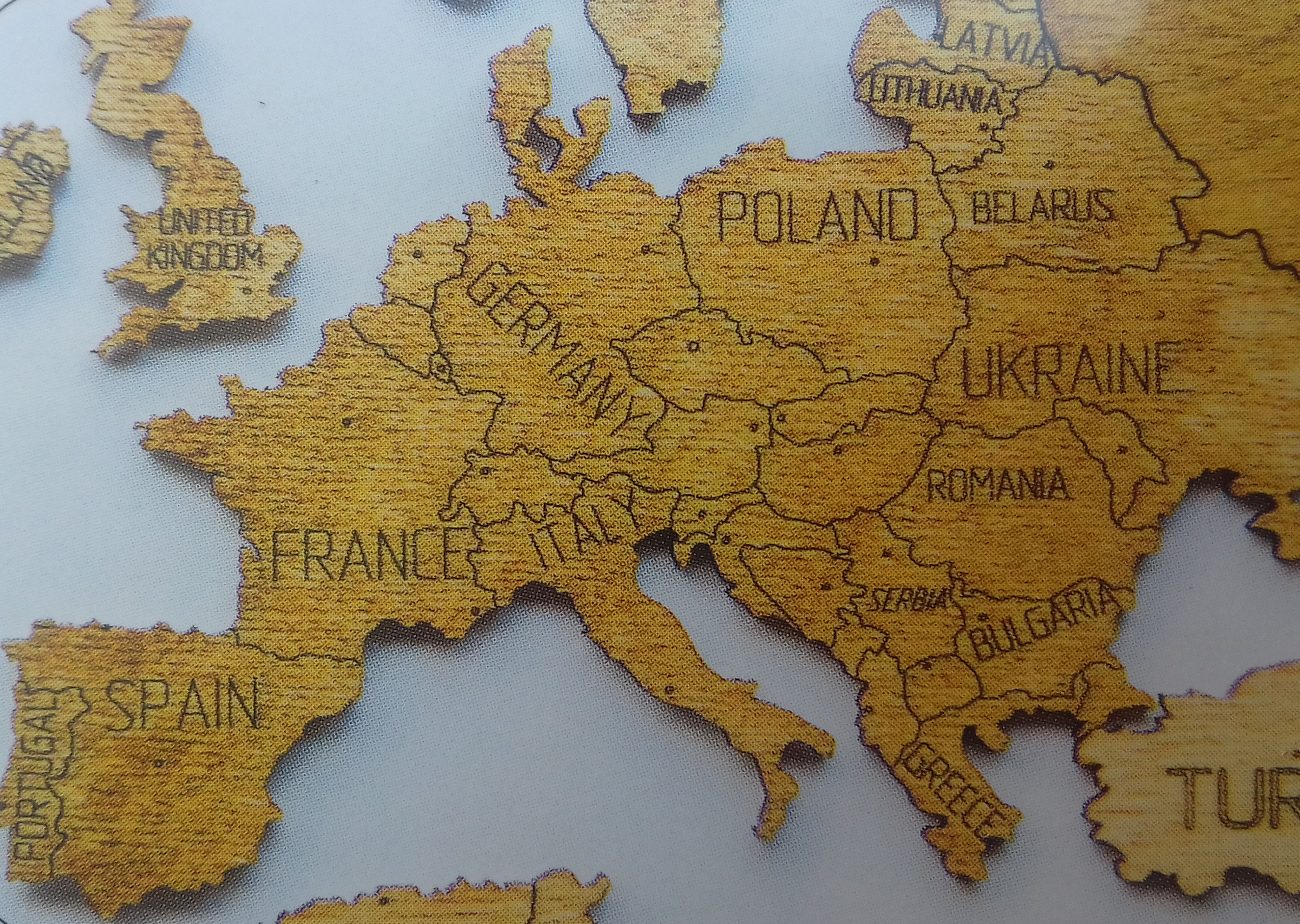 Nastenne Mapy World Wood Map Xl Natural 80x120cm Svet Drevena